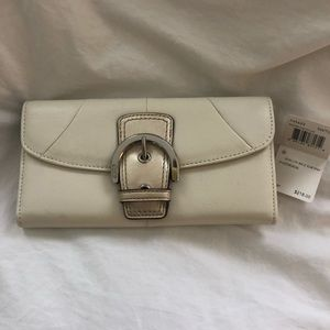 NWT Coach Silver Leather Wallet with Buckle Detail